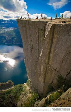 Just one reason Norway is AWESOME (we have photos of Ryan standing on this rock - alone - a very unusual occurrance ....)    Pulpit Rock in Norway…