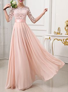 Maxi Dress - Floor Length / Lace Top / Half Sleeve / Pleated / Chiffon