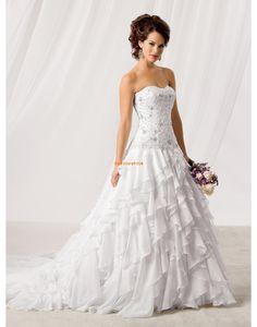 Traîne moyenne Organza Naturel Robes de mariée Designer