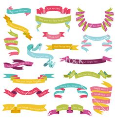 Set of colorful ribbons for your text vector by woodhouse84 on VectorStock®