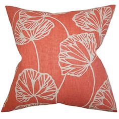 Add a stylish finishing touch to your living room sofa or the guest bed with this red cotton pillow, showcasing a lovely botanical motif.