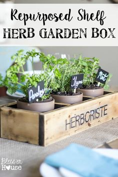Repurposed Shelf Herb Garden Box | Bless'er House - So cute and easy and looks vintage!  Might even be able to do this with an old CD shelf.  #herbgarden #indoorplants