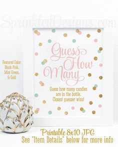 Baby Shower Games, Guess How Many Candies in Bottle, Candy Guessing Game, Blush Pink Mint Green Gold Glitter Printable Baby Girl Shower Game - SprinkledDesigns.com