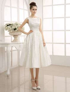 A-Line Tea-Length Beaded Lace Wedding Dress with Bateau Neck Milanoo & Wedding > Wedding Dresses > Cheap Wedding Dress Tea Length Wedding Dress, Tea Length Dresses, Perfect Wedding Dress, Cheap Wedding Dress, Bridal Wedding Dresses, Vintage Inspired Wedding Dresses, Vintage Dresses, Elegant Dresses, Bridal Lace