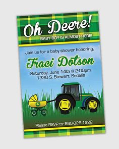 John Deere themed baby shower invitations by CourtneyMadeDesignz, $15.00