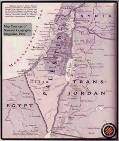 Palestine on the Map of National Geographic from 1947. #history #map #Palestine #war #interesting