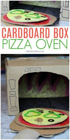 Fun Cardboard Box Crafts for Kids - Cardboard Box , Fun Cardboard Box Crafts for Kids cardboard box crafts kids pizza oven Basteln. Cardboard Crafts Kids, Recycled Crafts Kids, Diy Crafts For Kids, Projects For Kids, Fun Crafts, Paper Crafts, Cardboard Box Ideas For Kids, Cardboard Boxes, Cardboard Castle