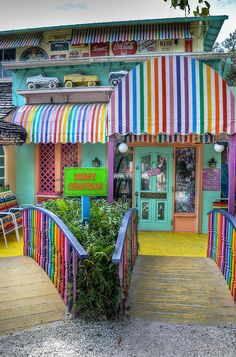 The Bubble Room - Sanibel Island, Florida  What a fun, eclectic, colorful and yummy dining experience!! And who minds waiting on the Beach?!