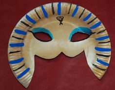 How to make a pharaoh mask? print template - Ancient Egypt DiY – Pharaoh mask easy to make by a child for an Ancient Egypt activity - Ancient Egypt Activities, Ancient Egypt Crafts, Egyptian Crafts, Egyptian Party, Ancient Egyptian Art, Ancient History, Joseph In Egypt, Art For Kids, Crafts For Kids