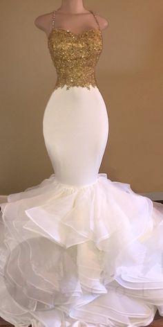 Amazing Gold & White Prom Dresses Spaghetti Straps Beading Ruffles Train Mermaid Evening Gowns
