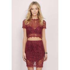 Tobi Whirlwind Romance Pencil Skirt (300 ARS) ❤ liked on Polyvore featuring skirts, burgundy, pencil skirts, burgundy pencil skirt, knee length lace skirt, red skirt and lacy skirt