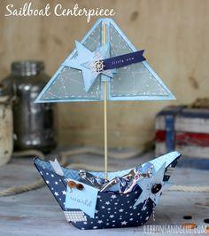 DIY Sailboat Centerpiece  #babyshower #silhouetteamerica