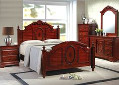 4 pc elissa collection light cherry finish wood queen bed set with ornate carvings and finials bedroom set light wood vera
