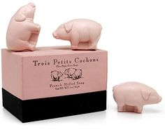 PIGLET SOAPS | French-Milled, Vegetable Based, Three Little Pig Hand Soaps in Fresh Linen Scent | UncommonGoods