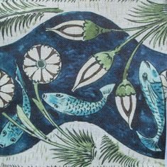 William de Morgan Needlepoint Fish & Lilies. On sale.