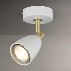 Buy John Lewis Sasha LED Spotlight, Ivory/Brass from our Ceiling Lighting range at John Lewis. Ivory Paint, Wall Lights, Ceiling Lights, Shop Lighting, Incandescent Bulbs, Kitchen Lighting, John Lewis, Brass, Appliques