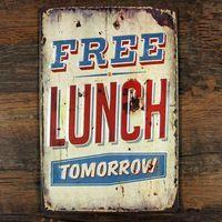 """Новый 2015 """" бесплатный обед """" урожай металлические знаки домашнего декора дом офис ресторан бар металл картин 20 x 30 см бесплатная доставка"""
