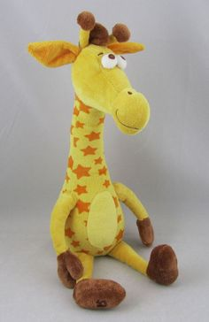 Geoffrey Toys R Us Plush Stuffed Giraffe Toy Animal Orange Yellow EUC Beans