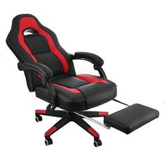 Mophorn High Back Reclining Chair 360 Degree Swivel Racing Chair Executive Racing Style Computer Gaming Chair with Footrest PU Leather Computer Office Chair (Black and Red with Footrest)