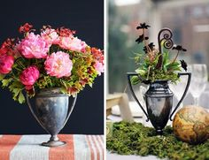 Channel your inner champion by embellishing a vintage trophy with red roses as centerpieces for your Derby party