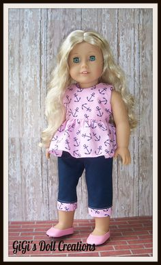 Pink and Navy Nautical Capri outfit fits by GiGisDollCreations