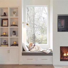 Great living room wall design incorporating windows. @pencilandpaperco via @beckiowens
