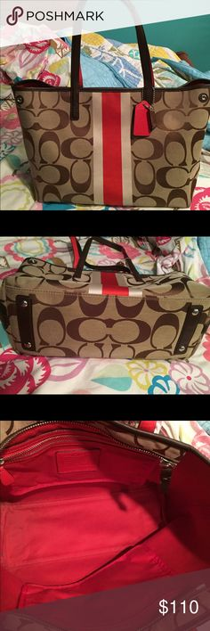 Coach Tote with Red and White Stripe Class is C's coach purse. Medium size with two pouches on inside (one zipper, one without). Red lining to match stripe on outside. Goes perfect with Coach keychain I'm also selling! Some normal wear and tear shown in pictures. Coach Bags Totes