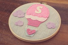 Personalized Embroidery Hoop Art Hot Air Balloon by CatshyCrafts, $45.00