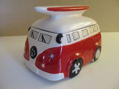 VW Camper Van Cookie Jar - RED - Ceramic Collectable Kitchen Jar - New