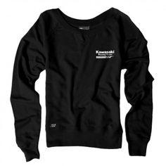 Factory Effex Official Kawasaki Crewneck Womens Pullover Long Sleeve Sweatshirts
