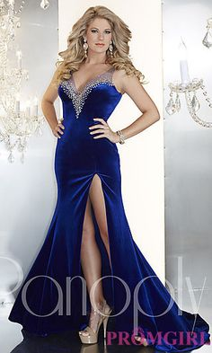 Full Length V-Neck Jersey Gown by Panoply at PromGirl.com