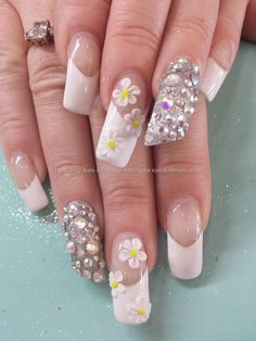 White french polish with 3d flowers and swarovski crystals Taken at:05/08/2014 12:06:02 Uploaded at:05/08/2014 18:46:05 Technician:Elaine Moore
