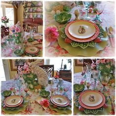 Fabulous Easter tablescape. Here it's all about the over the top rabbit centerpiece with layering of unique, beautiful dishes and glassware, set on the perfect tablecloth.