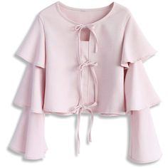 Chicwish Tiered of Sweet Cropped Top in Pink ($42) ❤ liked on Polyvore featuring tops, pink, pink top, pink crop top, tie top, crop top and bell sleeve crop tops