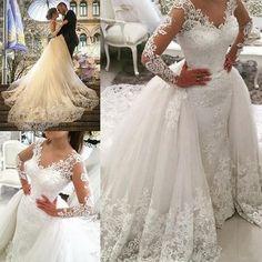 b52474e8b17 49%OFF Long Wedding Dresses 2019 A-line V-Neck Long Sleeves Lace