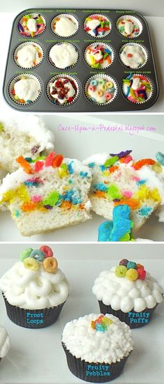 Cereal Cupcakes: http://once-upon-a-pedestal.blogspot.mx/2012/05/twice-baked-cupcakes.html