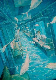 The color scheme and surrealistic quality caught my eye first, but still a great illustration of one-point perspective, albeit slanted (so there are no true verticals or horizontals). Art And Illustration, Illustrations, Kunst Inspo, Art Inspo, Fantasy Kunst, Fantasy Art, Poses References, Anime Scenery, Art Plastique