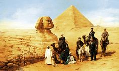 Egypt , Old Cairo Paintings: Sphinks by Franz Rohrbeck - German \ American painter , 1853 -1919