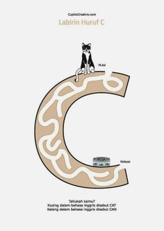 belajar baca huruf & kata bahasa inggris, anak TK/SD, gambar labirin (maze) bentuk huruf C