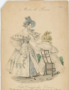 Petit Courrier des Dames, 1832. As much as I find 1830s clothing to be vile and repulsive, I have to admit that I find the embroidery (print?) on this gown to be so lovely.  Also that bonnet.  DAT BONNET.
