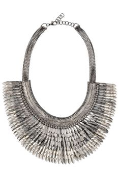 Silver & Metal Spike Statement Necklace | Silver Pegasus Necklace