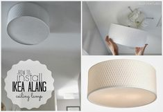 How to Install: IKEA ALANG Ceiling Lamp.  I want something like this over my tub... But I can't find a drum suitable for the bathroom.