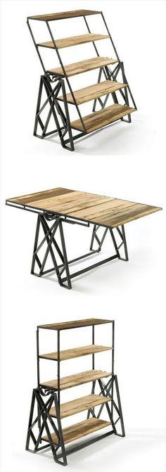 Estantería de madera y metal que se convierte en una mesa. Una idea original y muy práctica. lacasadepinturas.com: Google+