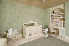 New baby girl nursery paint colors trees ideas Pink And Green Nursery, White Nursery, Purple Baby, Pink Purple, Vintage Baby Rooms, Vintage Nursery, Nursery Paint Colors, Nursery Design, Baby Girl Nursery Themes
