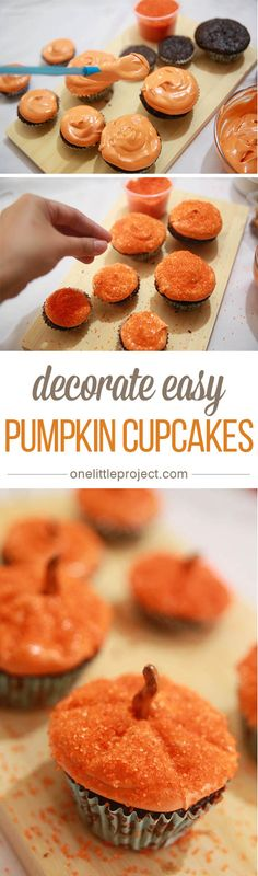 This method of decorating pumpkin cupcakes is SO EASY! These are simple, festive and totally doable for beginners!