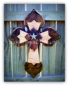 Beautiful!! Dark Stain with Religious Wording Wall CROSS by Happy Goose