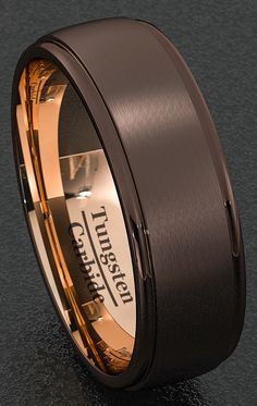 Mens Wedding Band Special Espresso Collection Tungsten Ring 8mm Two Tone of Brown Matted Surface and Rose Gold Inner Step Edge Comfort Fit