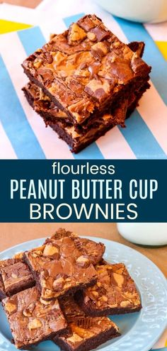 Flourless Peanut Butter Cups Brownies - rich, fudgy chocolate brownies swirled with peanut butter and chunks of Reese's. A to-die-for gluten-free dessert recipe! Easy Gluten Free Desserts, Homemade Desserts, Fun Desserts, Delicious Desserts, Brownie Recipes, Cupcake Recipes, Chocolate Recipes, Dessert Recipes, Chocolate Deserts