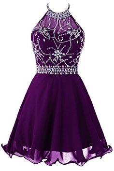 Topdress Women's Short Beaded Prom Dress Halter Homecoming Dress Backless Dark Purple US 10