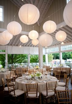 These white lanterns look pretty simply as decor during the day on this porch ~ we ❤ this! moncheribridals.com
